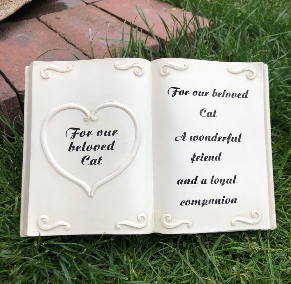 Beloved Cat ~ Bible Book with Heart Graveside Pet Memorial